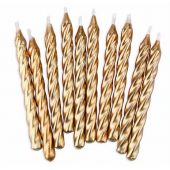 Gold Spiral Candles (pack quantity 10)