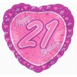 21st Birthday Pink 18 Inch Foil Balloon