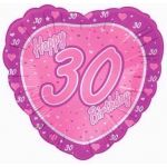 30th Birthday Pink 18 Inch Foil Balloon