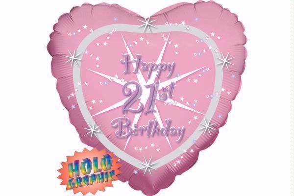 Heart 21st Birthday 18 Inch Foil Balloon