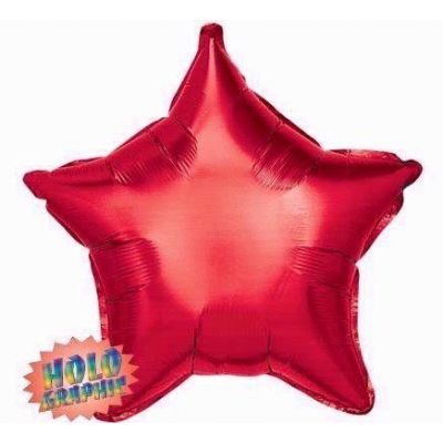 Holographic Red Star 22 Inch Foil Balloon