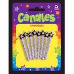  Silver Spiral Candles With Stars (pack&nbsp;quantity&nbsp;8) 