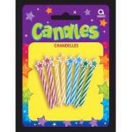 Assorted Spiral Candles With Stars (pack quantity 8)