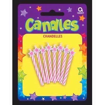  Pink Spiral Candles With Stars (pack&nbsp;quantity&nbsp;8) 