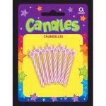 Pink Spiral Candles With Stars (pack quantity 8)
