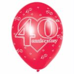  11 Inch 40th Anniversary Balloons (pack&nbsp;quantity&nbsp;6) 