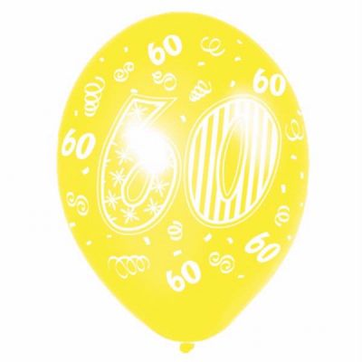 11 Inch 60th Birthday Balloons (pack quantity 6)