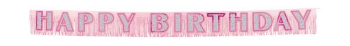 Pink Happy Birthday Fringe Banner