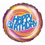 Birthday Swirls 18 Inch Foil Balloon