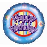 Birthday Stripes 18 Inch Foil Balloon