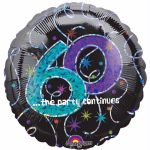 60th Party Continues 18 Inch Foil Balloon