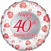 40th Anniversary 18 Inch Foil Balloon
