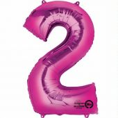 Pink Numeral 2 Jumbo Foil Ballon