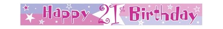 21st Birthday Pink Party Banner