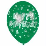 Happy Birthday 11 Inch Latex Balloons (pack quantity 6)