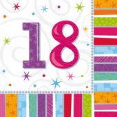 Radiant 18th Birthday 33cm Napkins (pack quantity 16)