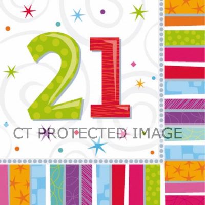  Radiant 21st Birthday 33cm Napkins (pack&nbsp;quantity&nbsp;16) 