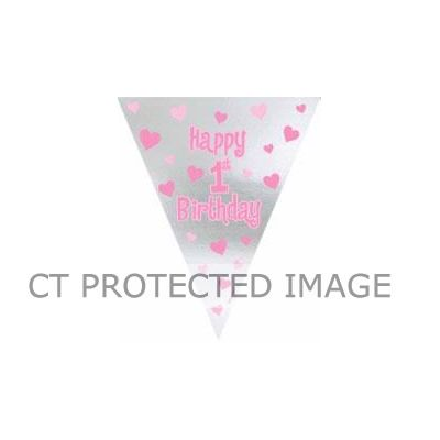 1st Birthday Girl Pennant Banner