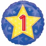 Stars&swirls Number 1 18 Inch Foil Balloon