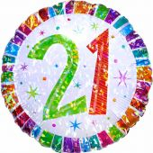 Radiant 21st Birthday 18 Inch Foil Balloon