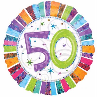 Radiant 50th Birthday 18 Inch Foil Balloon