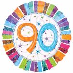 Radiant 90th Birthday 18 Inch Foil Balloon