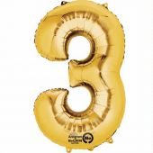Gold Number 3 Jumbo Foil Balloon