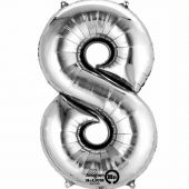 Silver Number 8 Jumbo Foil Balloon