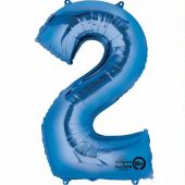 Blue Number 2 Jumbo Foil Balloon