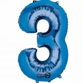 Blue Number 3 Jumbo Foil Balloon