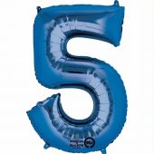 Blue Number 5 Jumbo Foil Balloon