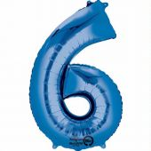 Blue Number 6 Jumbo Foil Balloon
