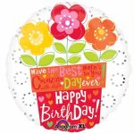 Birthday Flower Pot 18 Inch Foil Balloon