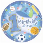  1st Birthday All Star 18cm Plates (pack&nbsp;quantity&nbsp;18) 