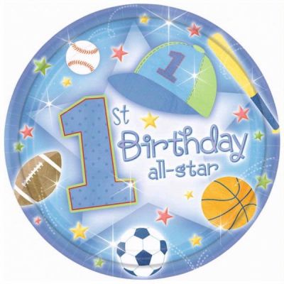  1st Birthday All Star 23cm Plates (pack&nbsp;quantity&nbsp;18) 