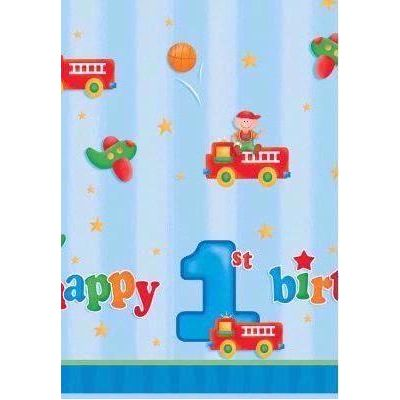 Fun At 1 Boys Plastic Tablecover
