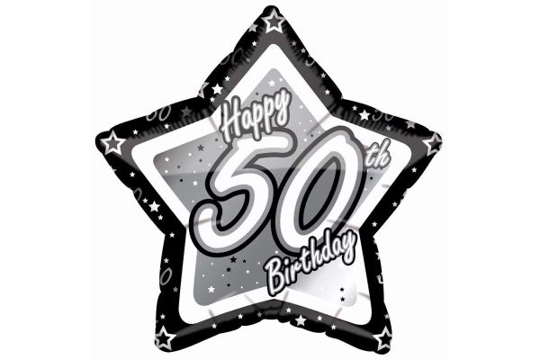 Black & Silver 50th Birthday 18 Inch Foil