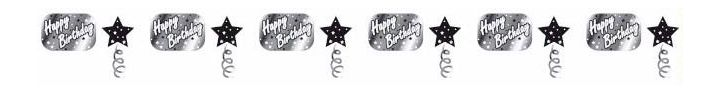 Black & Silver Birthday 3m Garland