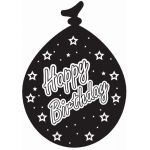  Black & Silver Happy Birthday Balloons (pack&nbsp;quantity&nbsp;6) 