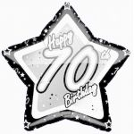 70th Black And Silver 18 Inch Foil Balloon