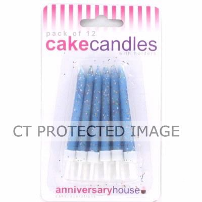 Blue Glitter Candles (pack quantity 12)