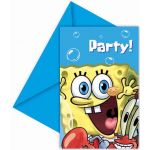  Sponge Bob Invitations (pack&nbsp;quantity&nbsp;6) 