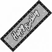 Black And Silver Happy Birthday Giant Banner