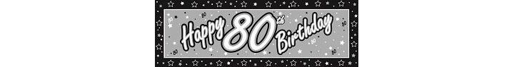 Black And Silver 80th Birthday Giant Banner