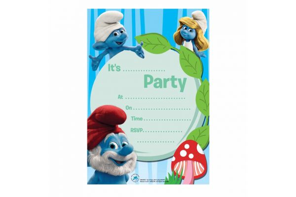  Smurfs Invitations (pack&nbsp;quantity&nbsp;20) 