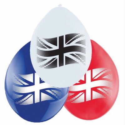  9 Inch Red/white/blue Gb Flag Balloons (pack&nbsp;quantity&nbsp;30) 