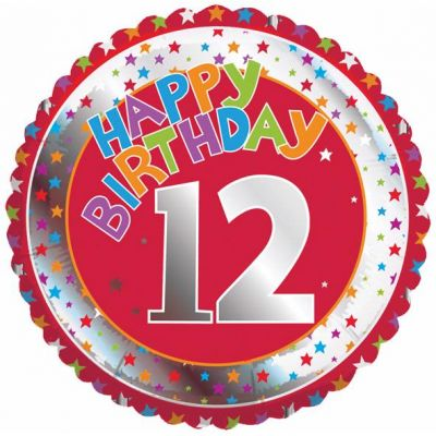 12th Birthday 18 Inch Foil Balloon