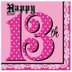 3ply 33cm Napkins 13th Birthday (pack quantity 16)