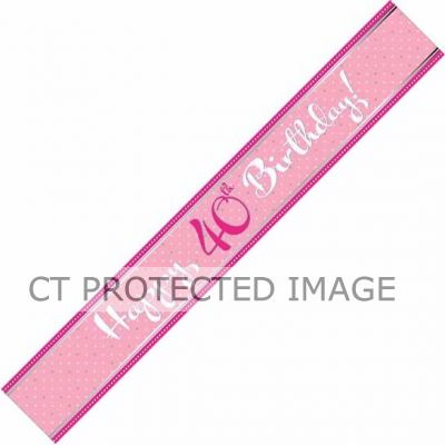 Perfectly Pink 40th Birthday 9ft Foil Banner