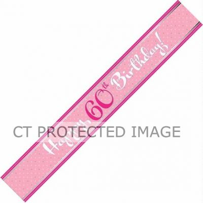 Perfectly Pink 60th Birthday 9ft Foil Banner